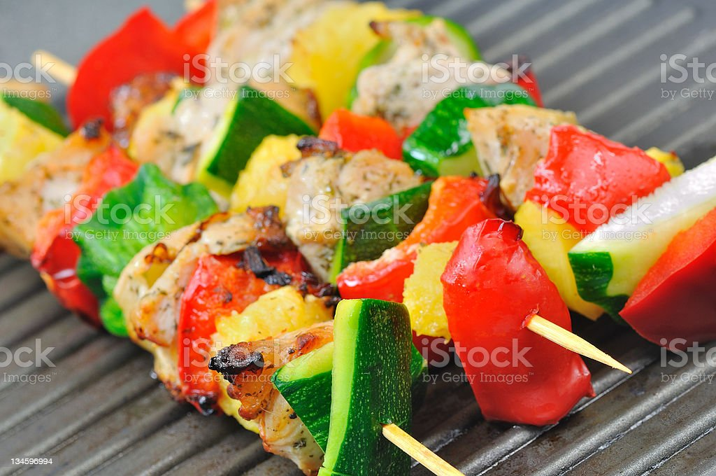 Chicken or turkey kebabs royalty-free stock photo