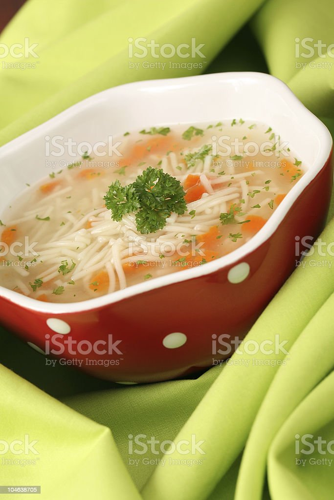 Chicken or turkey soup royalty-free stock photo