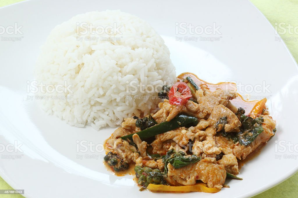 Chicken panang curry with ric royalty-free stock photo