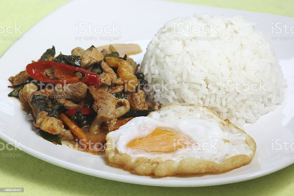 Chicken panang curry with rice and fried egg royalty-free stock photo