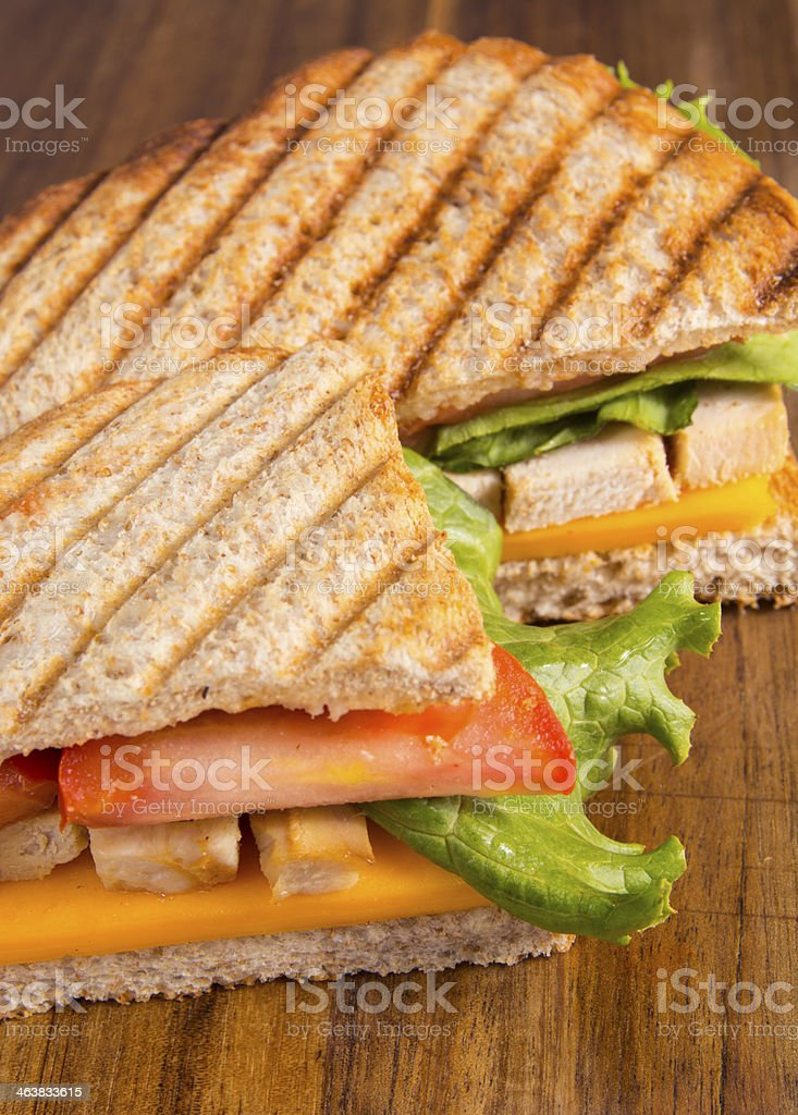 Chicken panini grilled Italian sandwich stock photo
