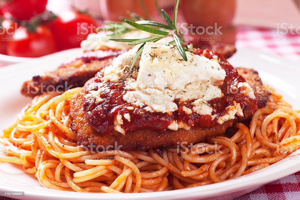 Chicken parmesan with spaghetti pasta stock photo