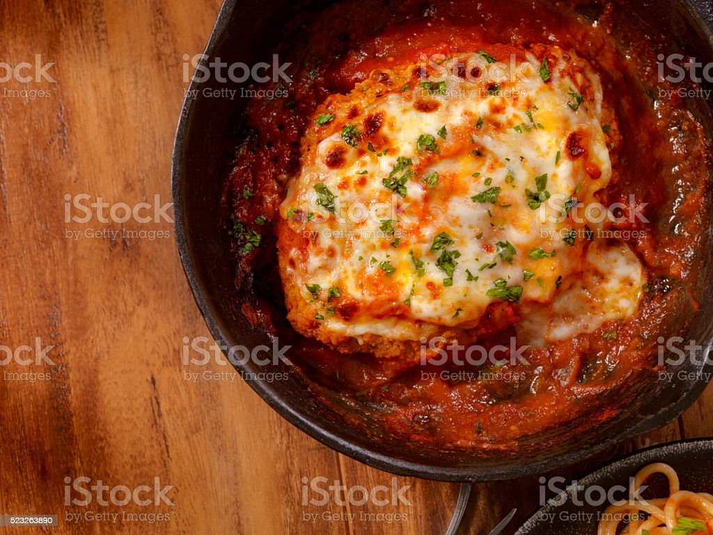Chicken Parmesan with Spaghetti stock photo