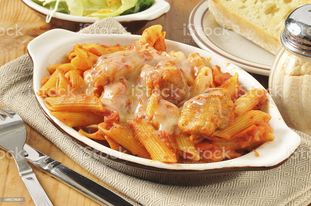 Chicken Parmigiana and Penne stock photo
