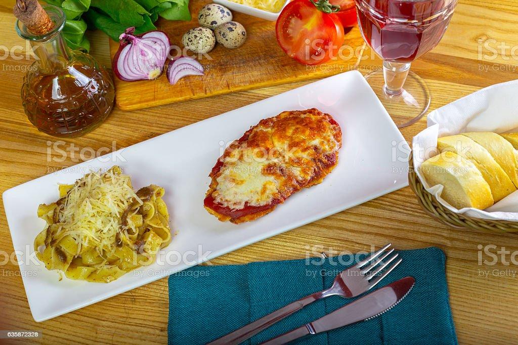 Chicken Parmigiana and spaghetti stock photo
