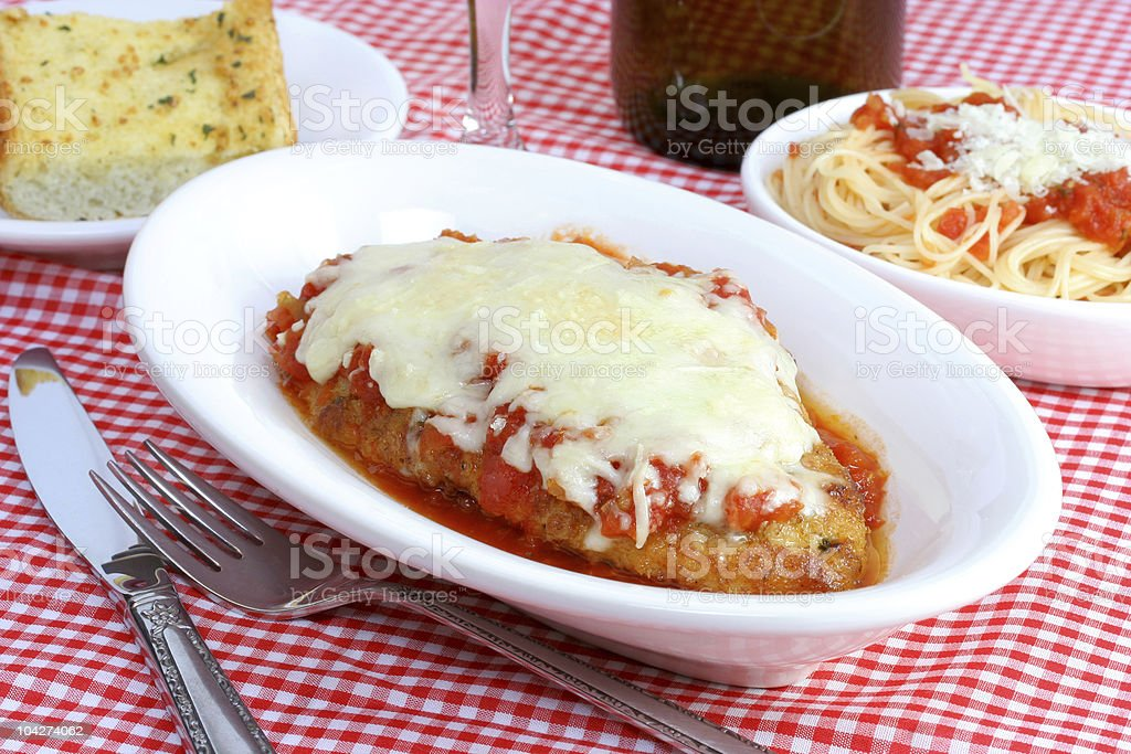 Chicken Parmigiana Dinner royalty-free stock photo