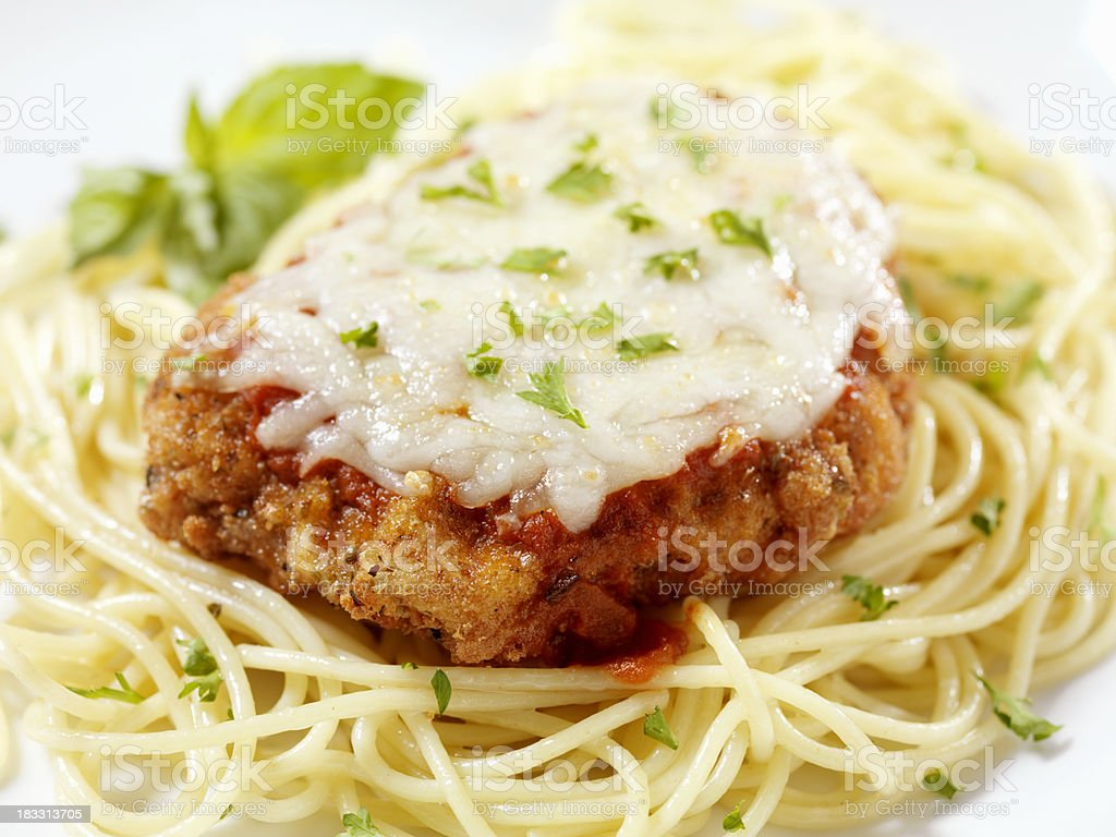 Chicken Parmigiana with Spaghetti royalty-free stock photo