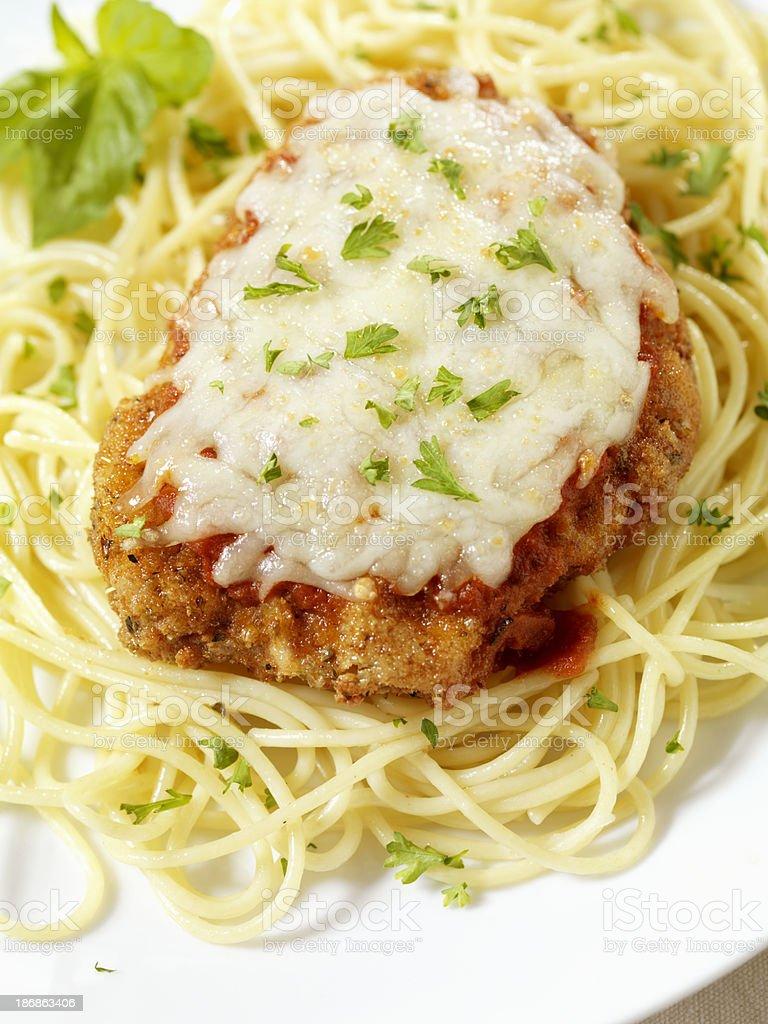 Chicken Parmigiana with Spaghetti stock photo