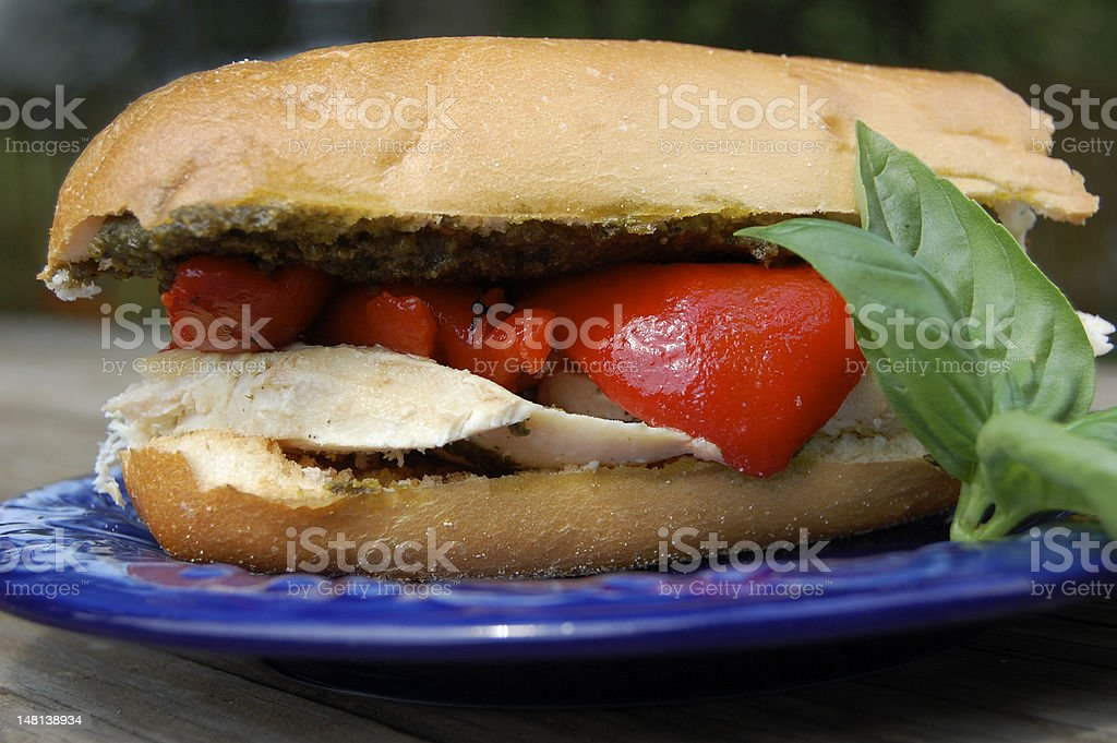 Chicken, Pesto, and Roasted Red Pepper Sandwich royalty-free stock photo