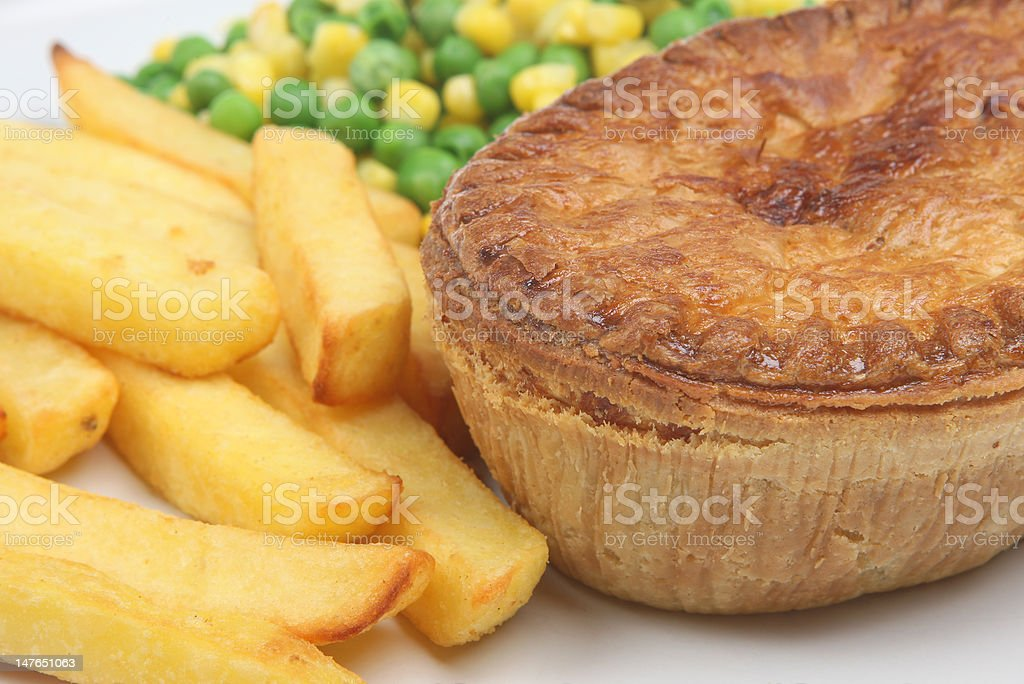 Chicken Pie & Chips royalty-free stock photo