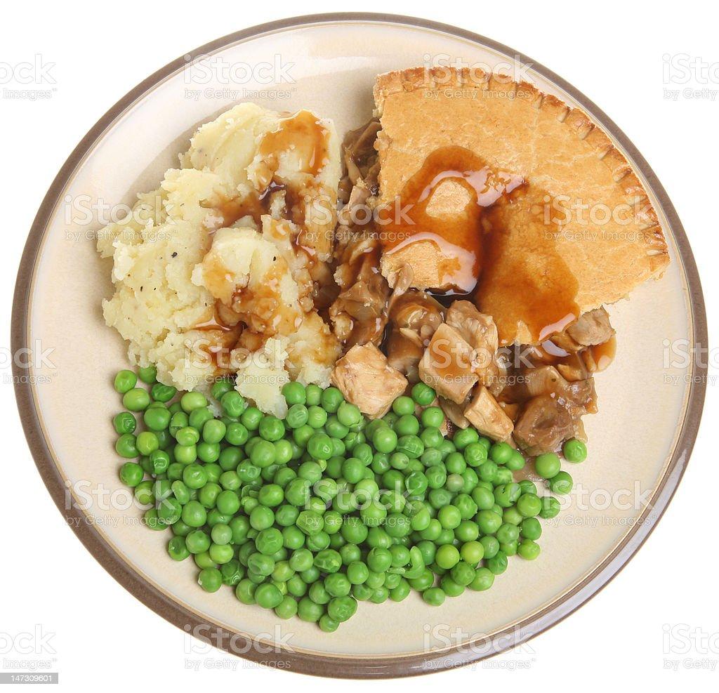 Chicken Pie, Mash & Peas royalty-free stock photo