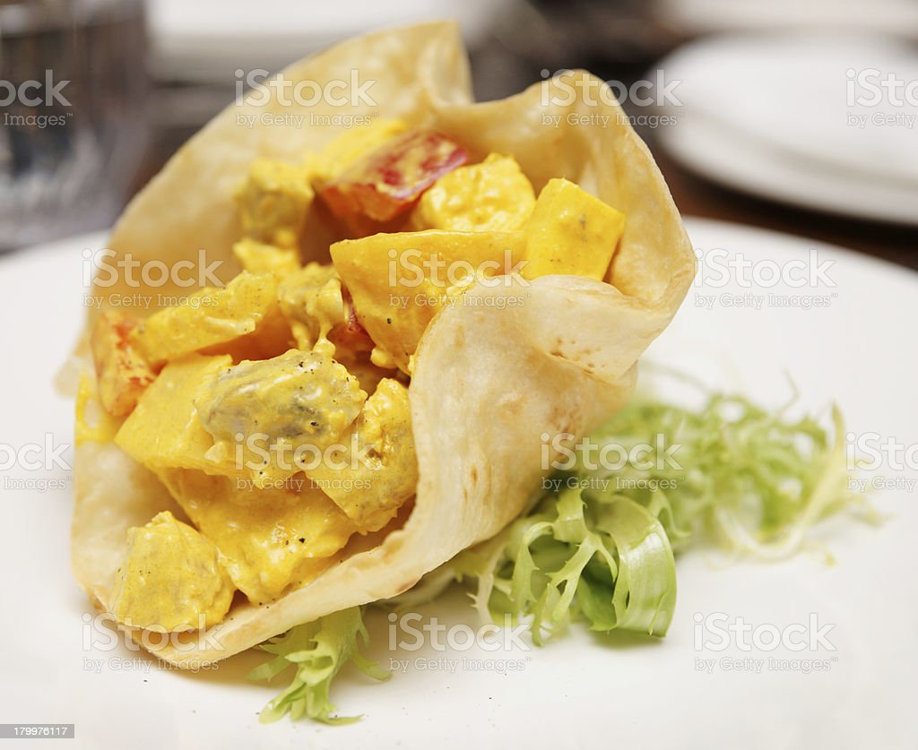 Chicken, pineapple and curry appetizer royalty-free stock photo