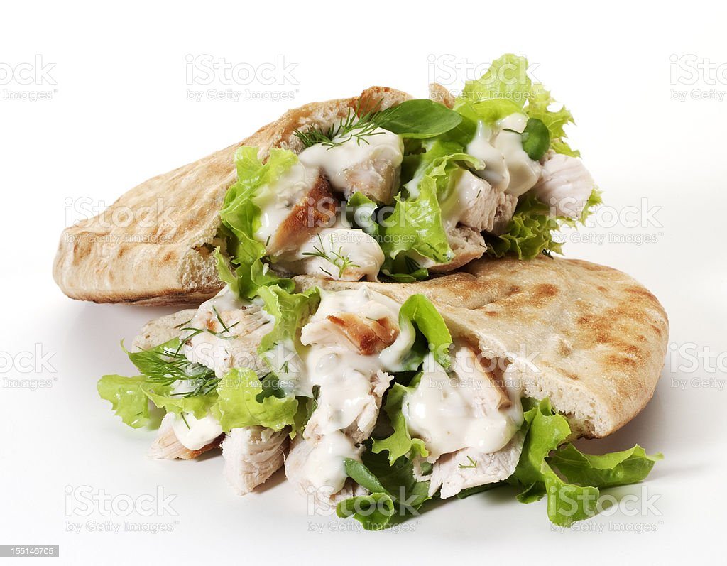 Chicken pita bread sandwich stock photo
