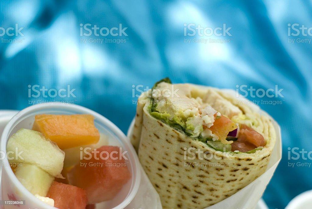 Chicken Pita Bread Wrap, Sandwich Healthy Take Out Food & Fruit royalty-free stock photo