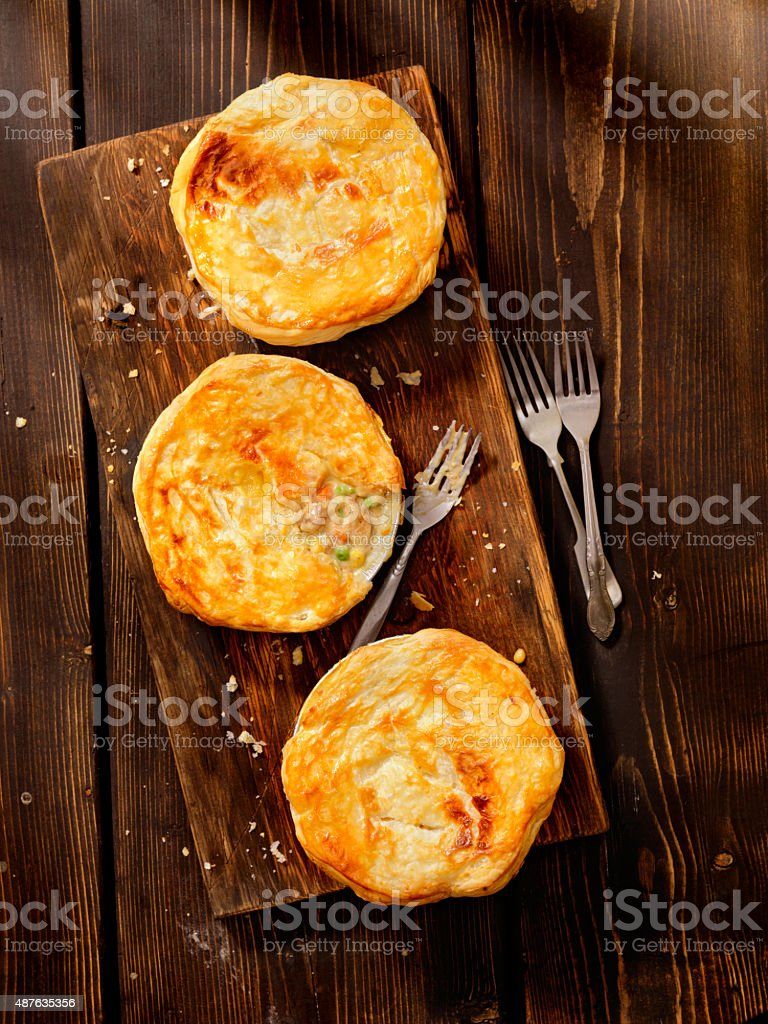Chicken pot Pies with Puff Pastry stock photo