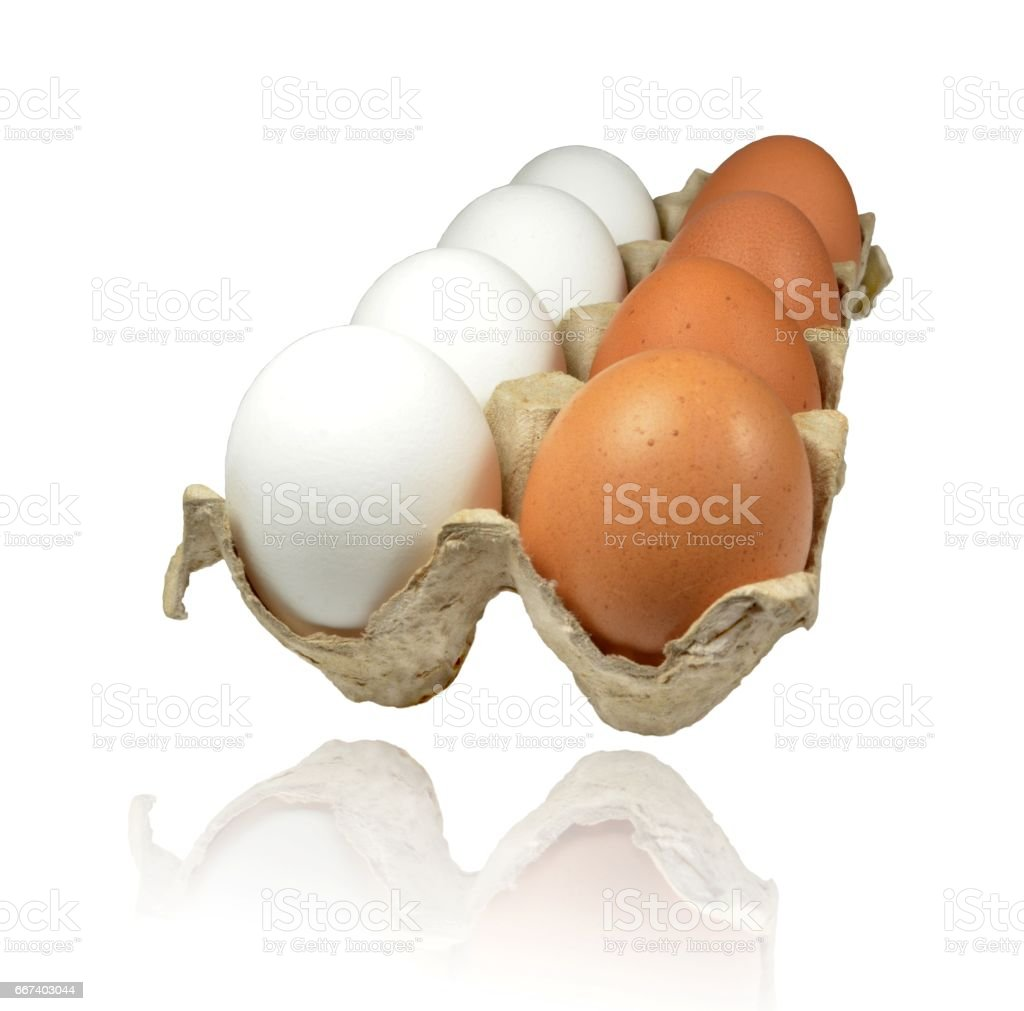 Chicken raw eggs white and brown stock photo