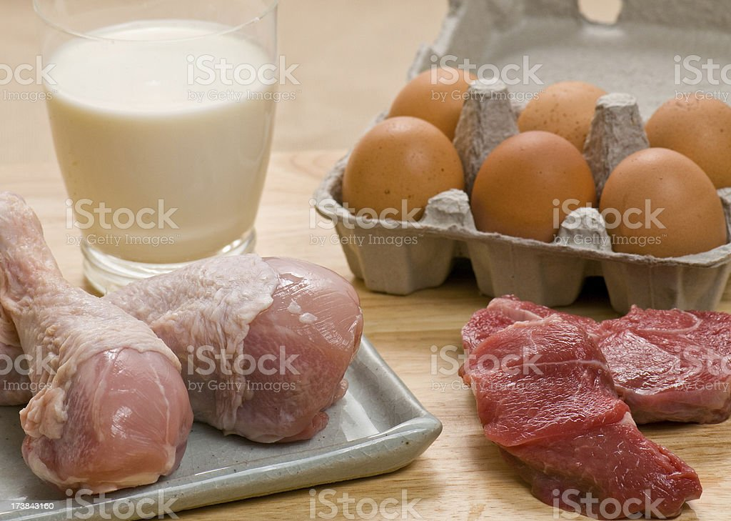 Chicken, red meat, milk and eggs. royalty-free stock photo