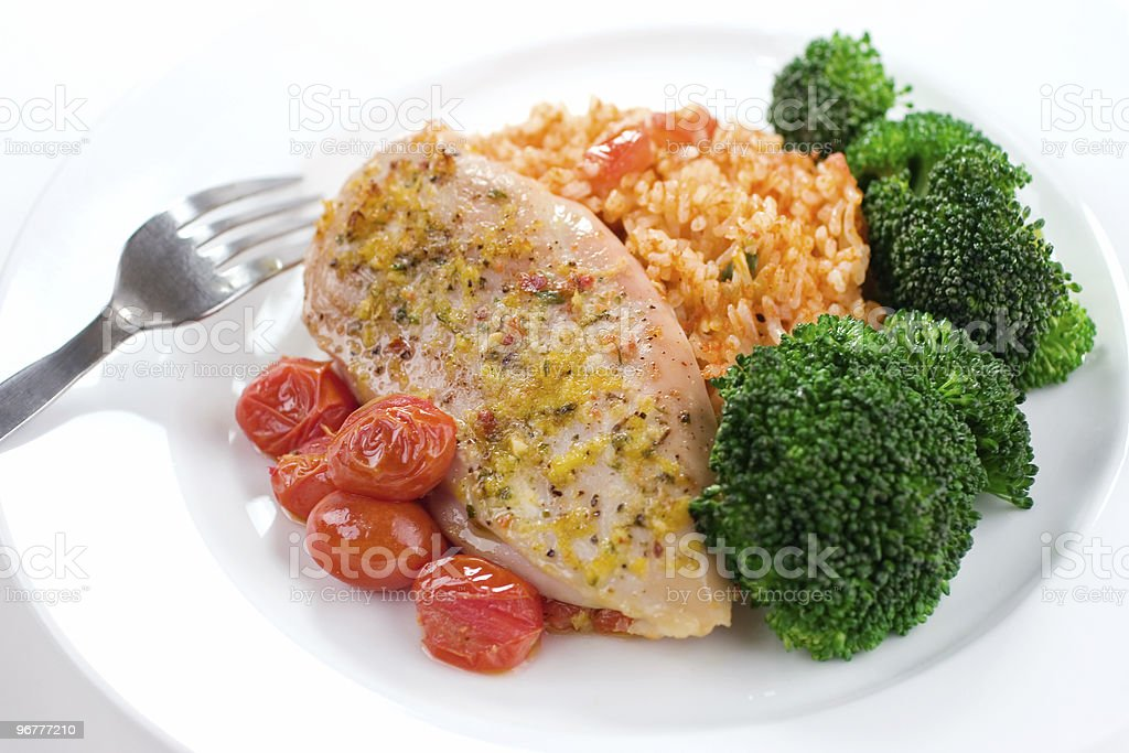 Chicken & Rice Dinner stock photo