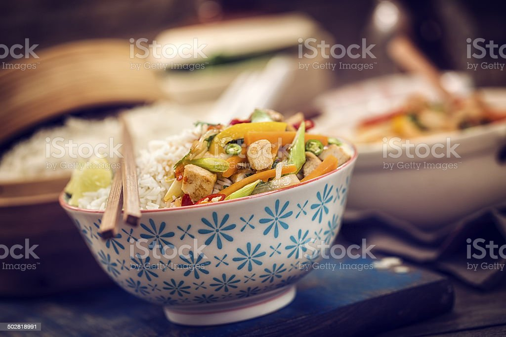 Chicken Rice Stir Fry stock photo