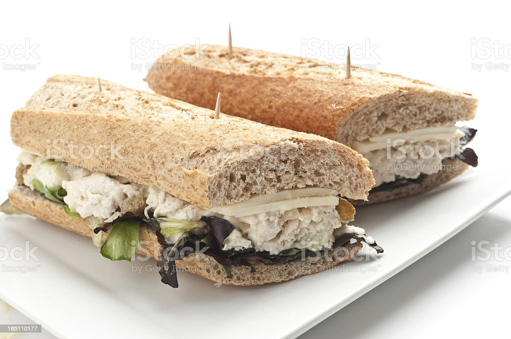 Chicken salad and cheese sandwich stock photo