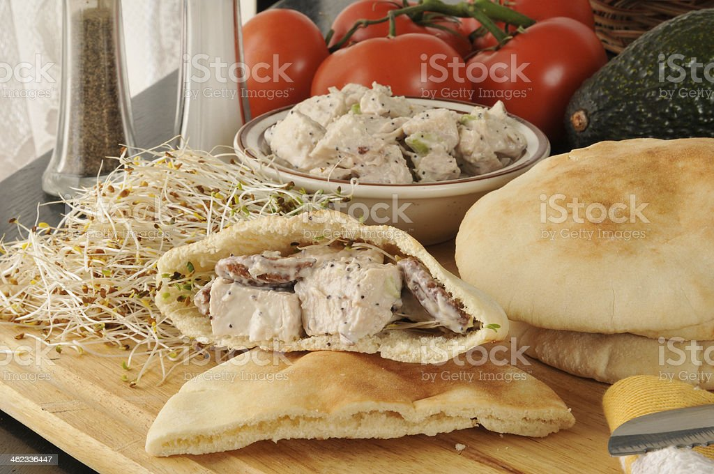 chicken salad pita sandwiches stock photo