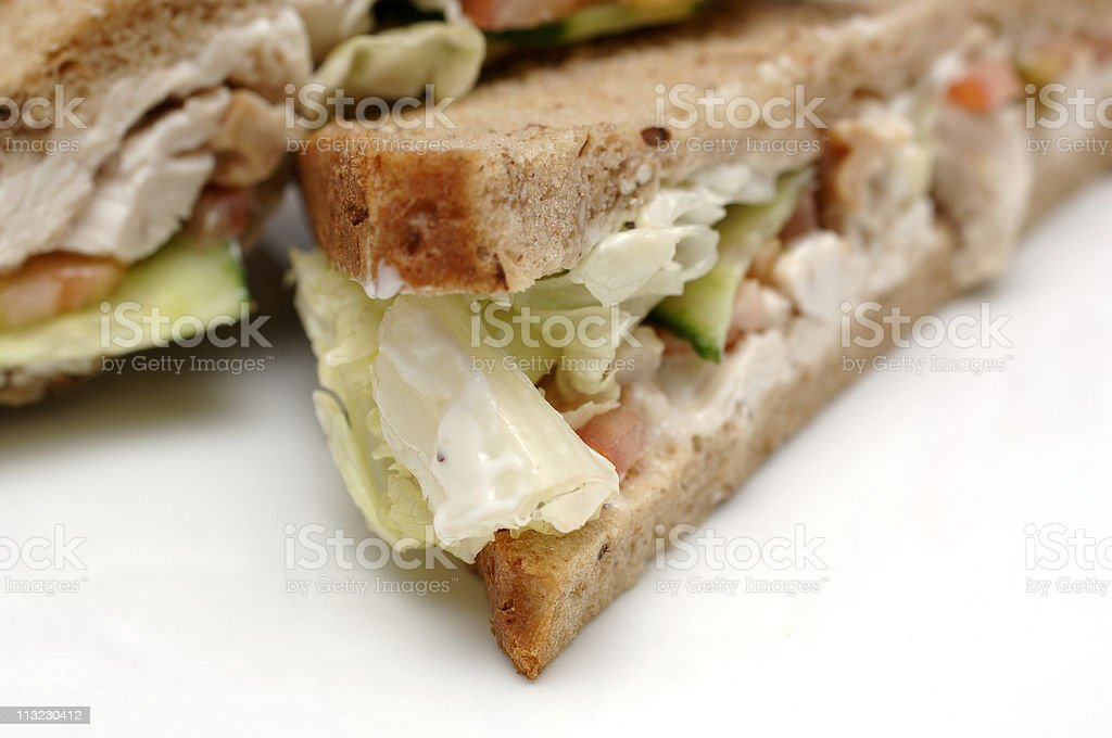 chicken salad sandwich on a white plate royalty-free stock photo