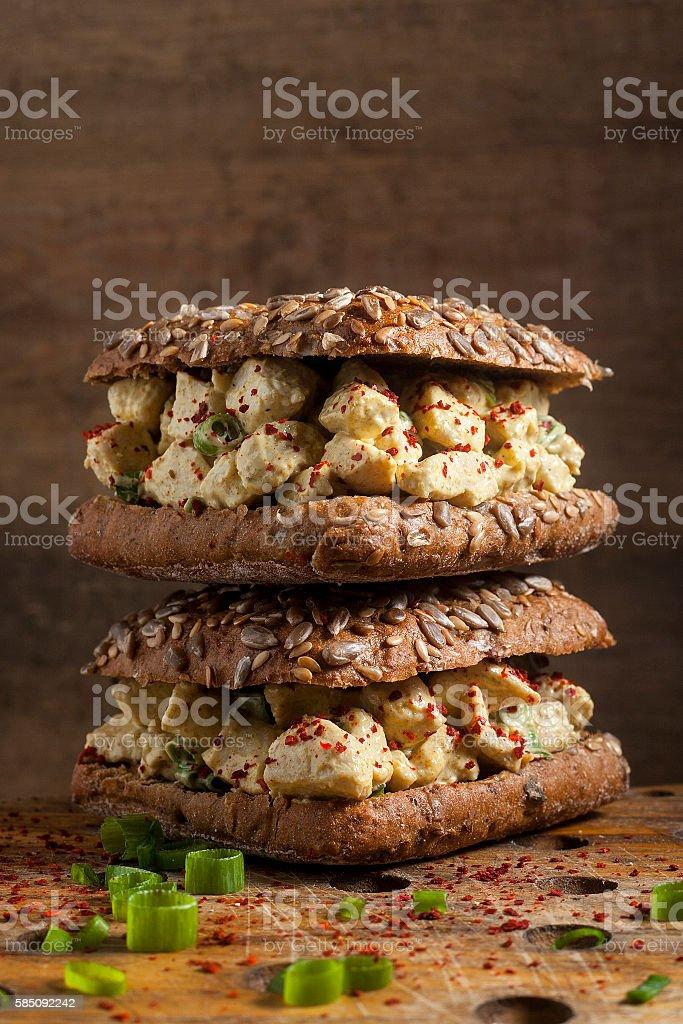 Chicken salad sandwiches stock photo