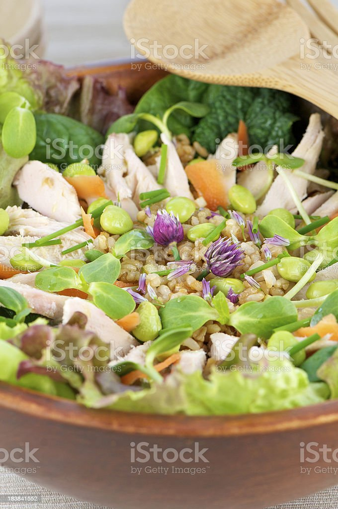 Chicken Salad with Edamame and Rice In Wood Bowl royalty-free stock photo