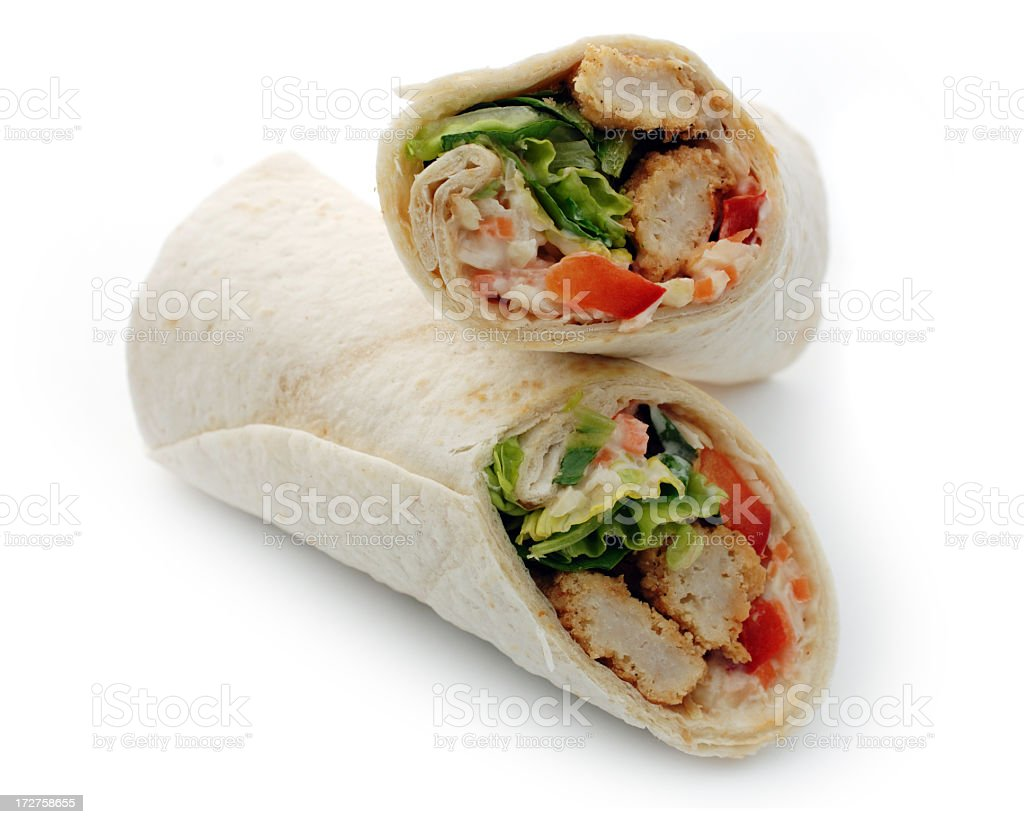 chicken salad wrap sandwich against white royalty-free stock photo