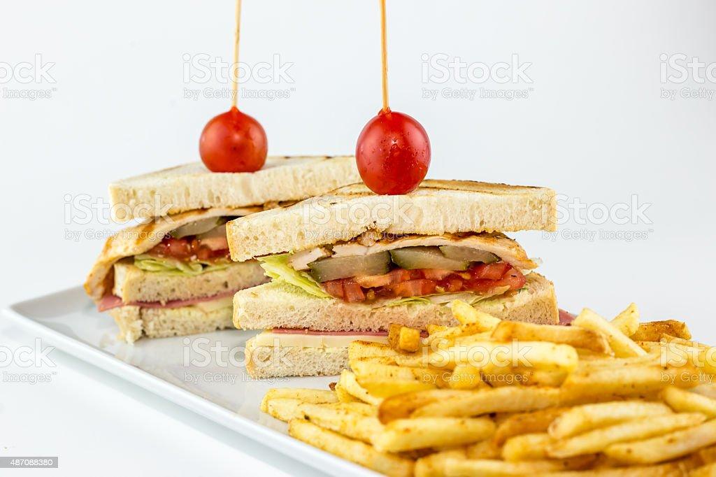 Chicken Sandwich on white ground stock photo
