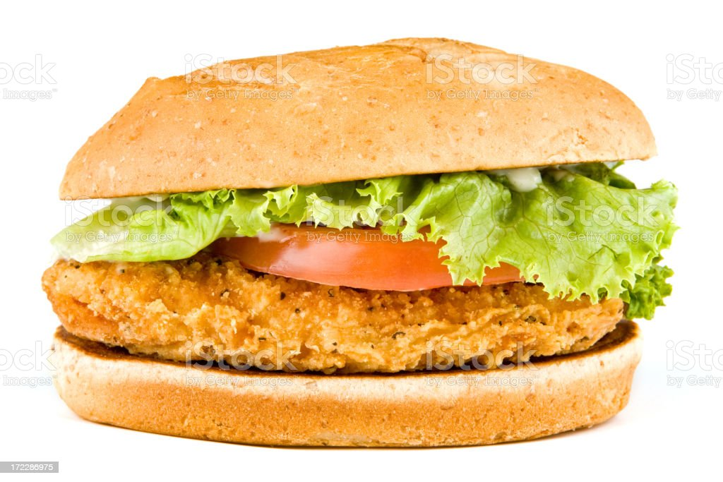 chicken sandwich on white (full front) royalty-free stock photo