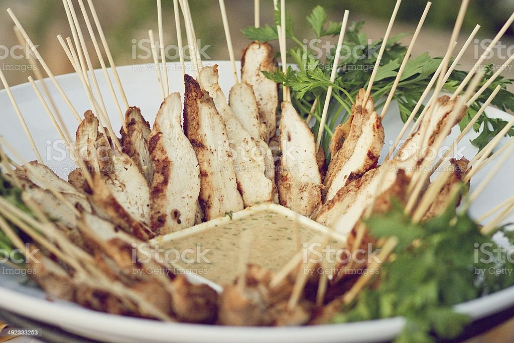 Chicken Satay BBQ Skewers stock photo