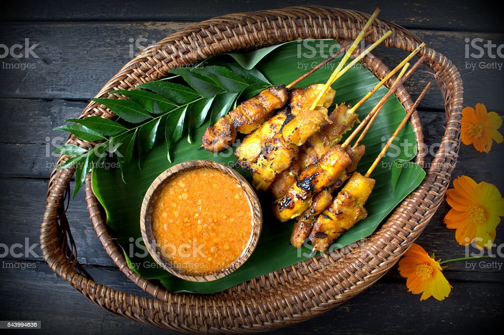 Chicken satay or sate stock photo