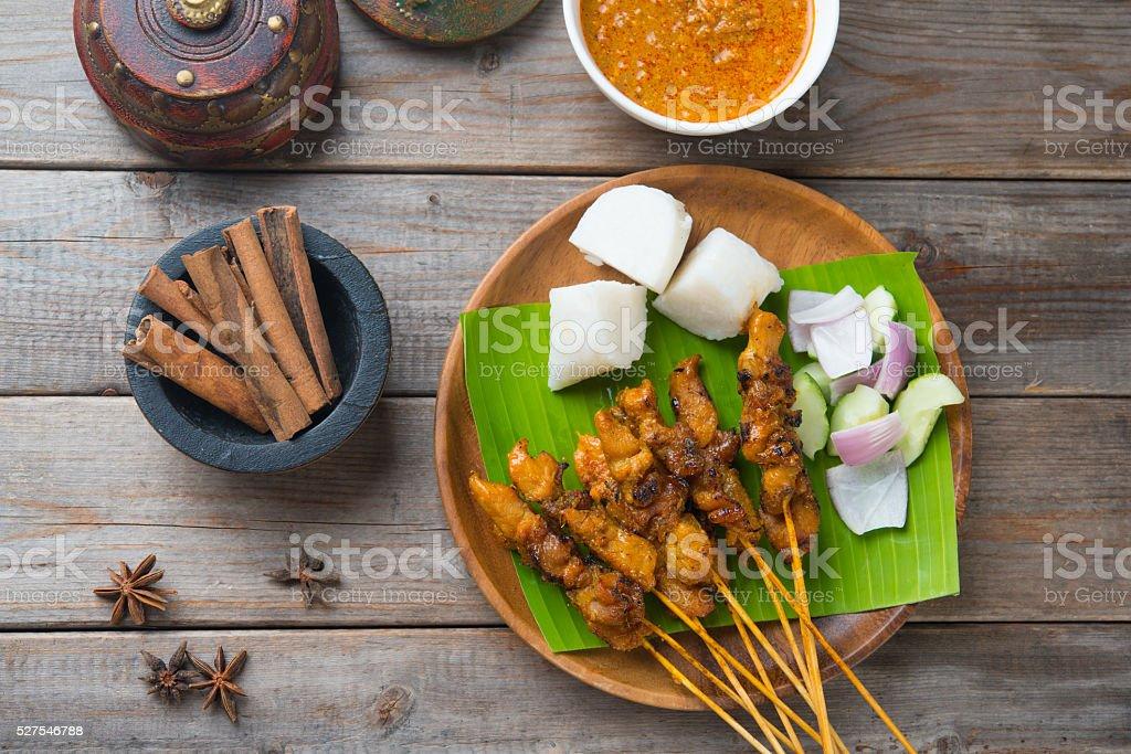 chicken satay popular asian dish top view stock photo