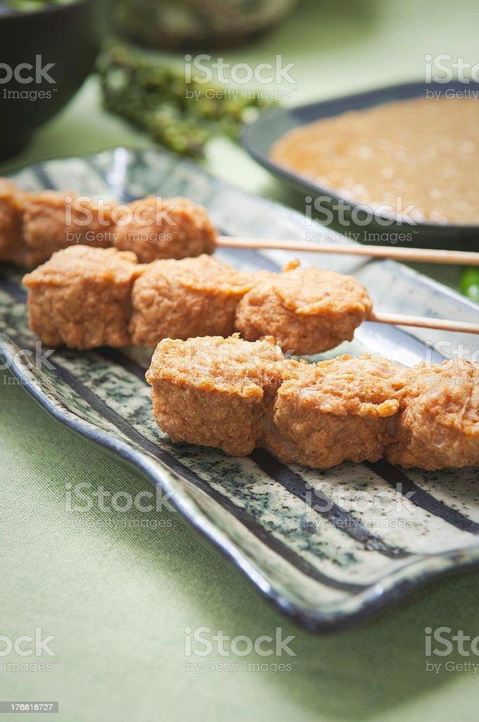 Chicken satay with peanut sauce. royalty-free stock photo