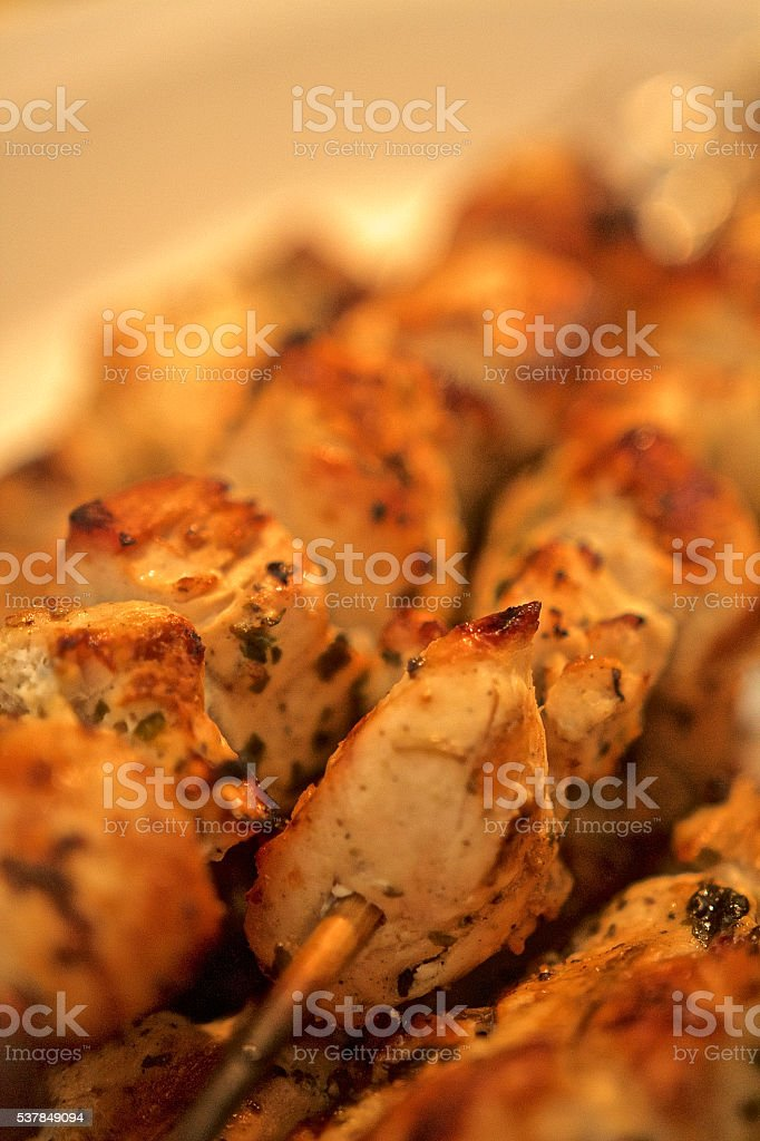 Chicken scewers stock photo