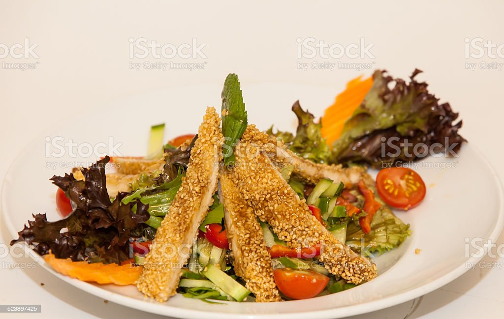 Chicken Schinitzel with sesame stock photo