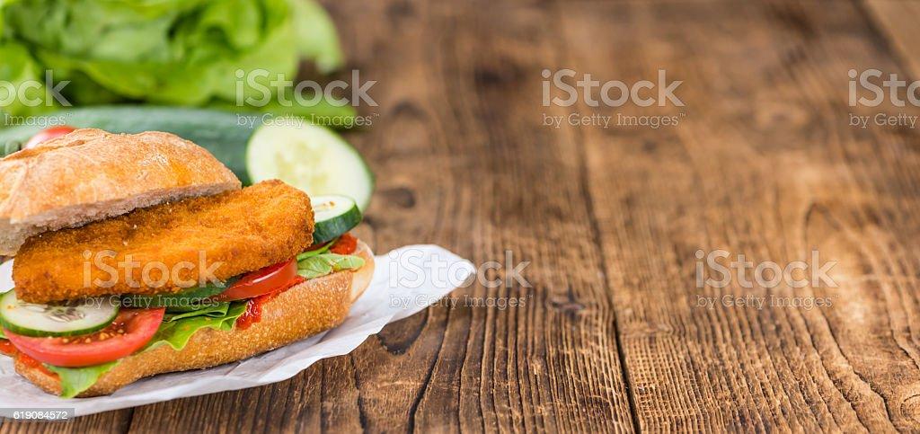 Chicken Schnitzel on a bun stock photo