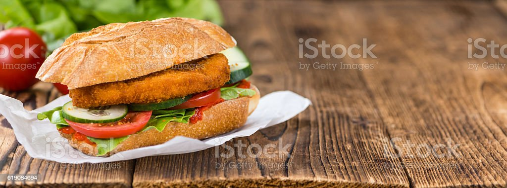 Chicken Schnitzel on a bun stock photo