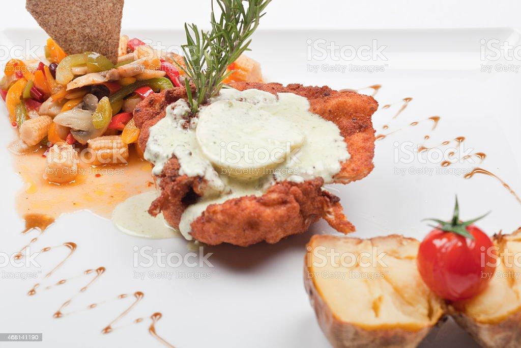 Chicken Schnitzel with vegetables stock photo