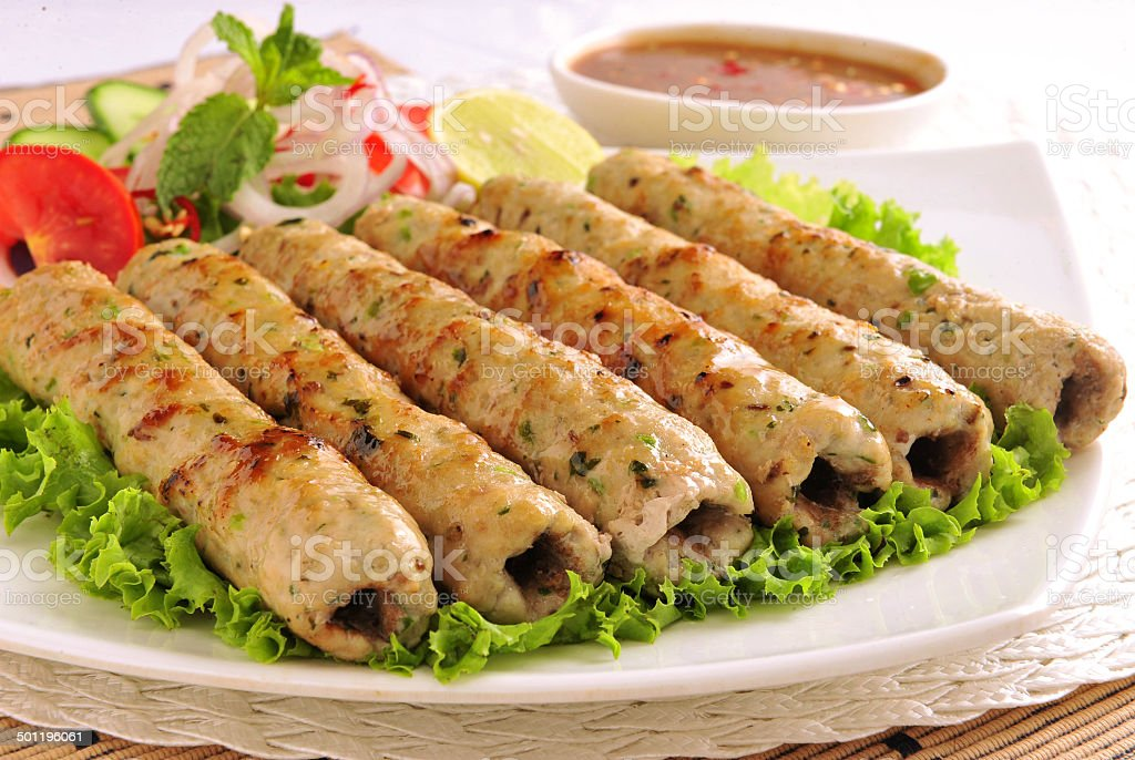 Chicken Seekh Kabab stock photo