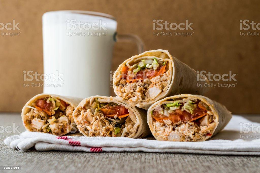 Chicken shawarma doner kebab with ayran or buttermilk. stock photo