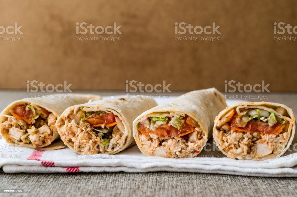 Chicken shawarma durum doner kebab copy space. stock photo