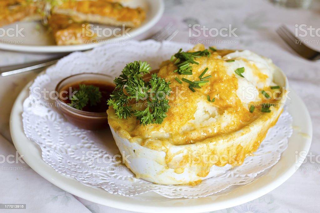 Chicken shepherd pie stock photo