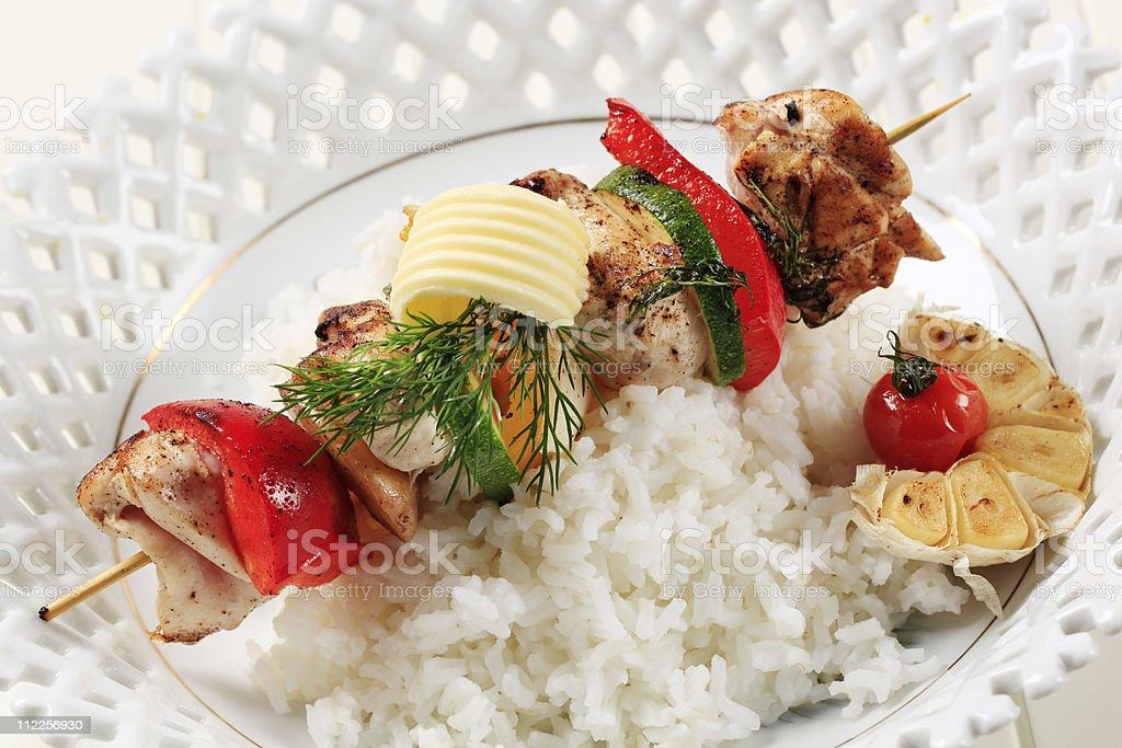 Chicken shish kebab and rice royalty-free stock photo