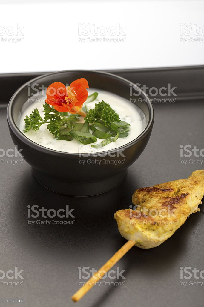 Chicken skewer and bowl royalty-free stock photo