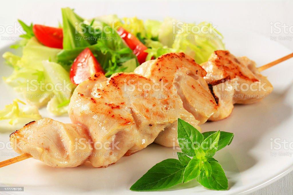 Chicken skewer royalty-free stock photo