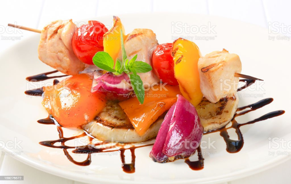 Chicken skewer with pan roasted vegetables royalty-free stock photo