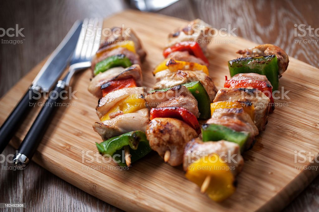 Chicken  Skewered stock photo