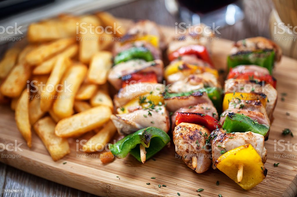 Chicken  Skewered with Potatoes stock photo
